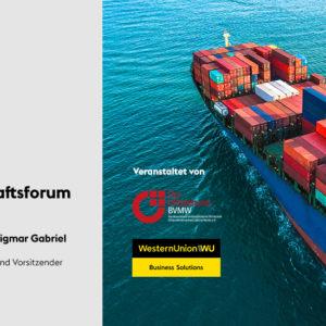 Francine spricht neben weiteren Experten, wie Sigmar Gabriel, beim ersten Import- und Außenwirtschaftsforum